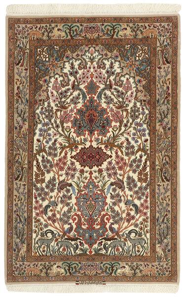 Isfahan Zijden Pool Vloerkleed 102X161 Echt Oosters Handgeweven Bruin/Lichtbruin (Wol/Zijde, Perzië/Iran)