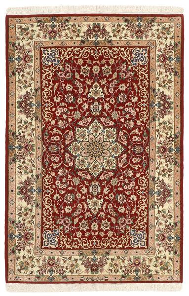 Isfahan Zijden Pool Vloerkleed 105X165 Echt Oosters Handgeweven Donkerrood/Beige (Wol/Zijde, Perzië/Iran)