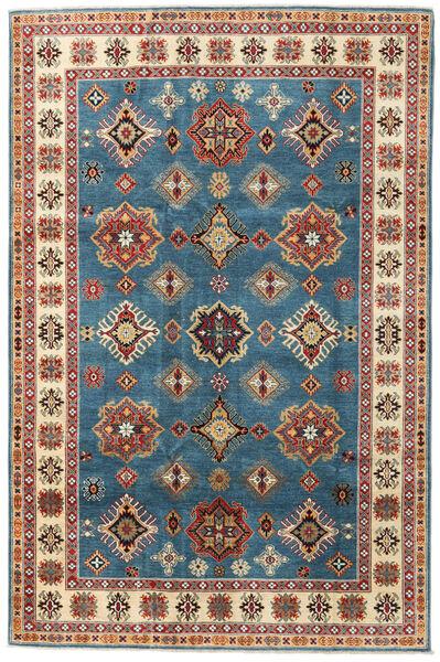 Kazak Vloerkleed 199X302 Echt Oosters Handgeknoopt Donkerblauw/Lichtbruin (Wol, Afghanistan)