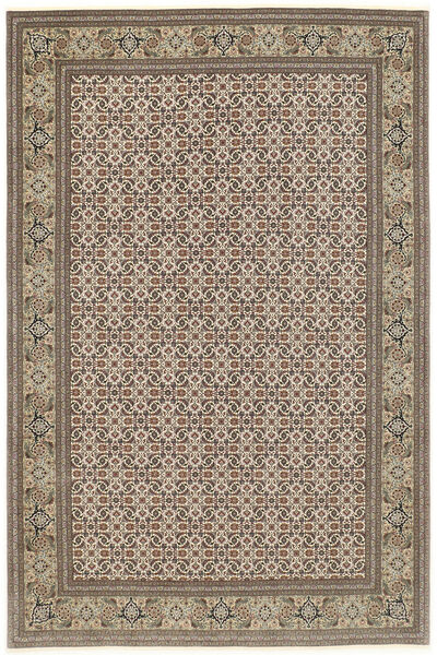 Tabriz 50 Raj Vloerkleed 200X302 Echt Oosters Handgeknoopt Lichtgrijs/Lichtbruin (Wol/Zijde, Perzië/Iran)