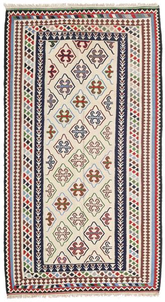 Kelim Senneh Vloerkleed 148X268 Echt Oosters Handgeweven Beige/Donkergrijs (Wol, Perzië/Iran)