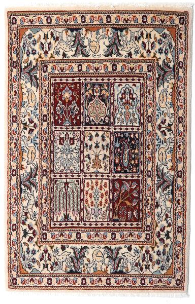Moud Vloerkleed 76X117 Echt Oosters Handgeknoopt Beige/Donkerbruin (Wol/Zijde, Perzië/Iran)