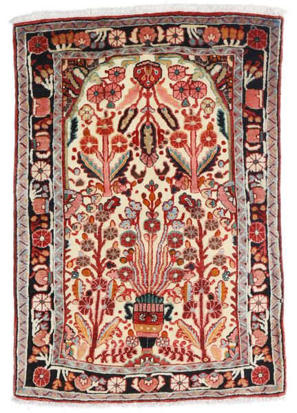 Hamadan Vloerkleed 67X100 Echt Oosters Handgeknoopt Beige/Donkerrood (Wol, Perzië/Iran)