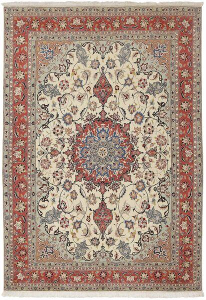 Tabriz 50 Raj Vloerkleed 154X224 Echt Oosters Handgeknoopt Lichtgrijs/Donkerbruin (Wol/Zijde, Perzië/Iran)