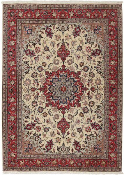 Tabriz 50 Raj Vloerkleed 155X211 Echt Oosters Handgeknoopt Lichtgrijs/Donkerrood (Wol/Zijde, Perzië/Iran)
