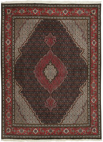 Tabriz 50 Raj Vloerkleed 150X202 Echt Oosters Handgeknoopt Donkerbruin/Donkerrood (Wol/Zijde, Perzië/Iran)