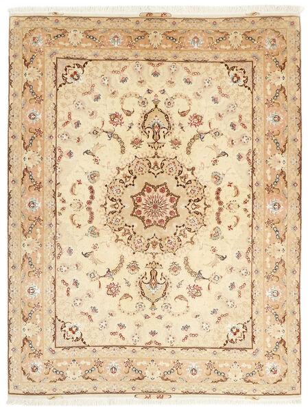 Tabriz 50 Raj Vloerkleed 153X208 Echt Oosters Handgeknoopt Beige/Donkerbeige (Wol/Zijde, Perzië/Iran)