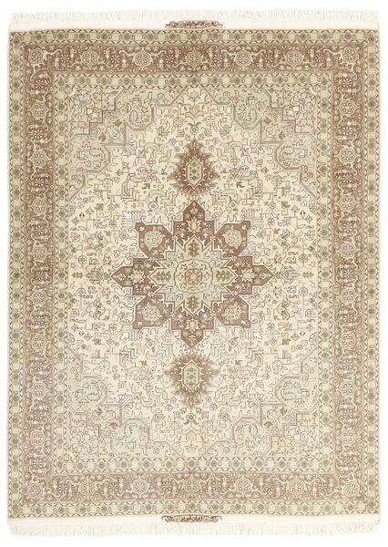 Tabriz 50 Raj Vloerkleed 148X200 Echt Oosters Handgeknoopt Beige/Lichtgrijs (Wol/Zijde, Perzië/Iran)