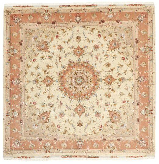 Tabriz 50 Raj Vloerkleed 200X207 Echt Oosters Handgeknoopt Vierkant Beige/Lichtbruin (Wol/Zijde, Perzië/Iran)