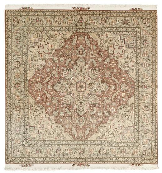 Tabriz 50 Raj Vloerkleed 203X208 Echt Oosters Handgeknoopt Vierkant Lichtgrijs/Bruin (Wol/Zijde, Perzië/Iran)