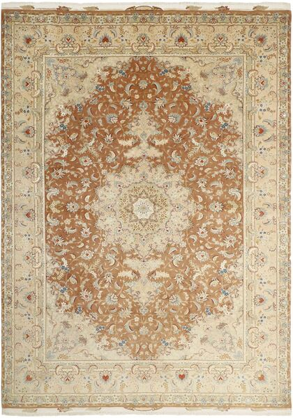 Tabriz 50 Raj Vloerkleed 256X363 Echt Oosters Handgeknoopt Beige/Donkerbeige Groot (Wol/Zijde, Perzië/Iran)