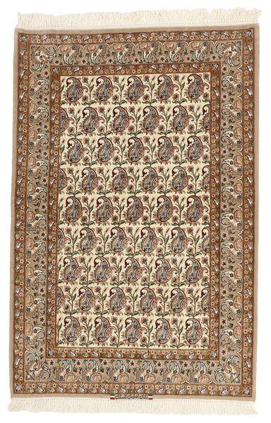 Isfahan Zijden Pool Vloerkleed 111X166 Echt Oosters Handgeknoopt Bruin/Lichtbruin/Beige (Wol/Zijde, Perzië/Iran)