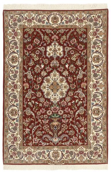 Isfahan Zijden Pool Vloerkleed 110X164 Echt Oosters Handgeknoopt Donkerbruin/Beige/Lichtbruin (Wol/Zijde, Perzië/Iran)