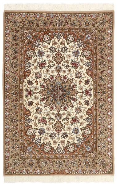 Isfahan Zijden Pool Vloerkleed 110X160 Echt Oosters Handgeknoopt Beige/Bruin/Lichtbruin (Wol/Zijde, Perzië/Iran)