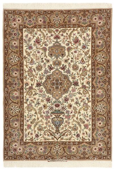Isfahan Zijden Pool Vloerkleed 110X157 Echt Oosters Handgeknoopt Bruin/Beige (Wol/Zijde, Perzië/Iran)