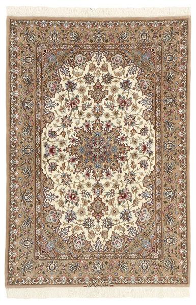 Isfahan Zijden Pool Vloerkleed 110X164 Echt Oosters Handgeknoopt Beige/Bruin (Wol/Zijde, Perzië/Iran)