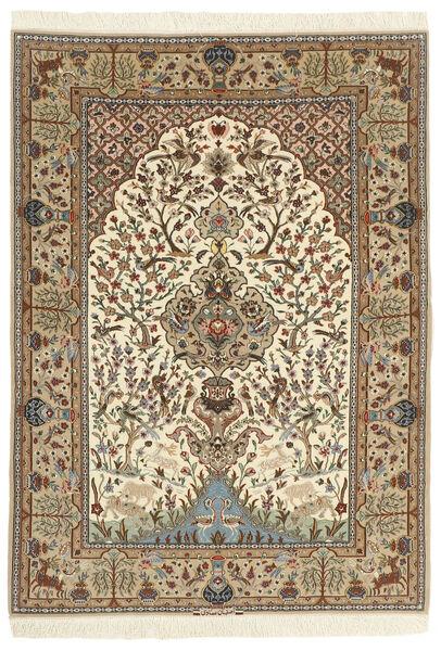 Isfahan Zijden Pool Vloerkleed 130X190 Echt Oosters Handgeknoopt Beige/Bruin (Wol/Zijde, Perzië/Iran)
