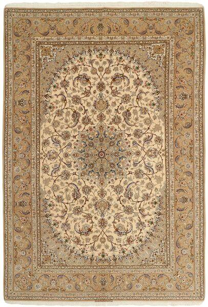 Isfahan Zijden Pool Vloerkleed 208X306 Echt Oosters Handgeknoopt Lichtbruin/Donkerbeige (Wol/Zijde, Perzië/Iran)