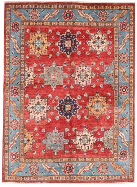 Kazak Vloerkleed 151X206 Echt Oosters Handgeknoopt Donkerrood/Roestkleur (Wol, Afghanistan)