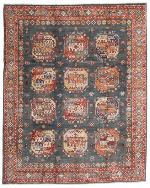 Kazak Vloerkleed 240X298 Echt Oosters Handgeknoopt Donkergrijs/Donkerrood (Wol, Afghanistan)