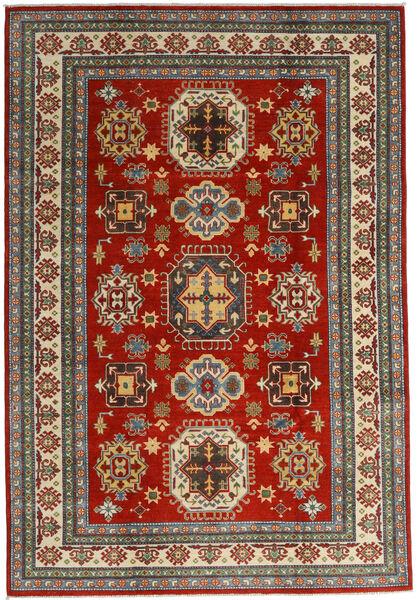 Kazak Vloerkleed 201X293 Echt Oosters Handgeknoopt Donkerrood/Donkergrijs (Wol, Afghanistan)