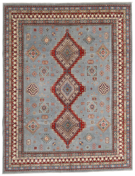Kazak Vloerkleed 245X318 Echt Oosters Handgeknoopt Lichtgrijs/Donkergrijs (Wol, Afghanistan)