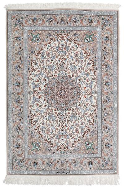 Isfahan Zijden Pool Vloerkleed 110X160 Echt Oosters Handgeknoopt Lichtgrijs/Wit/Creme (Wol/Zijde, Perzië/Iran)