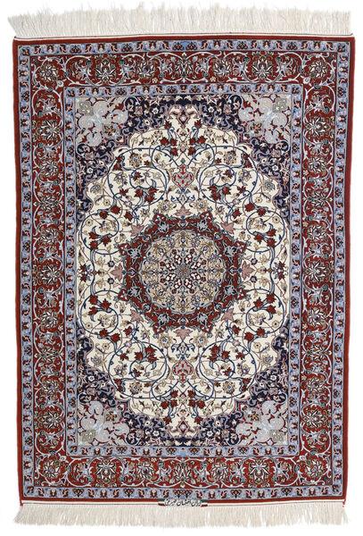 Isfahan Zijden Pool Getekend Intashari Vloerkleed 113X158 Echt Oosters Handgeknoopt Lichtgrijs/Donkerbruin (Wol/Zijde, Perzië/Iran)