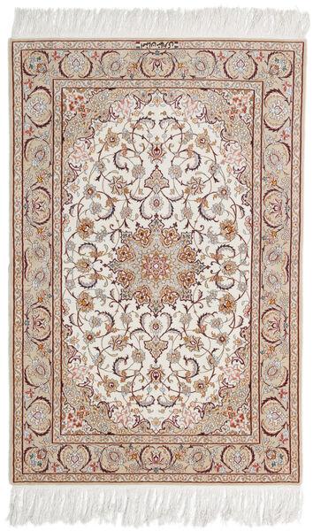 Isfahan Zijden Pool Getekend Mazaheri Vloerkleed 108X163 Echt Oosters Handgeknoopt Lichtgrijs/Wit/Creme (Wol/Zijde, Perzië/Iran)