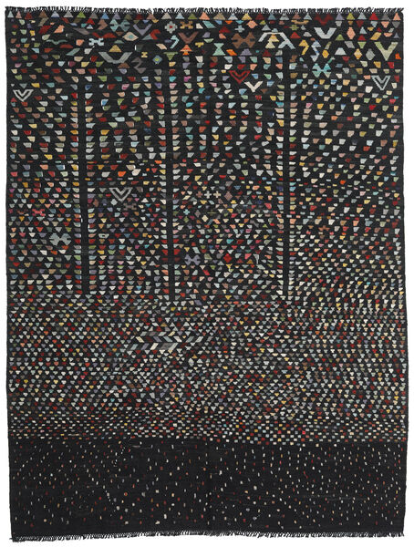 Kelim Moderne Vloerkleed 221X286 Echt Modern Handgeweven Zwart/Donkergrijs (Wol, Afghanistan)