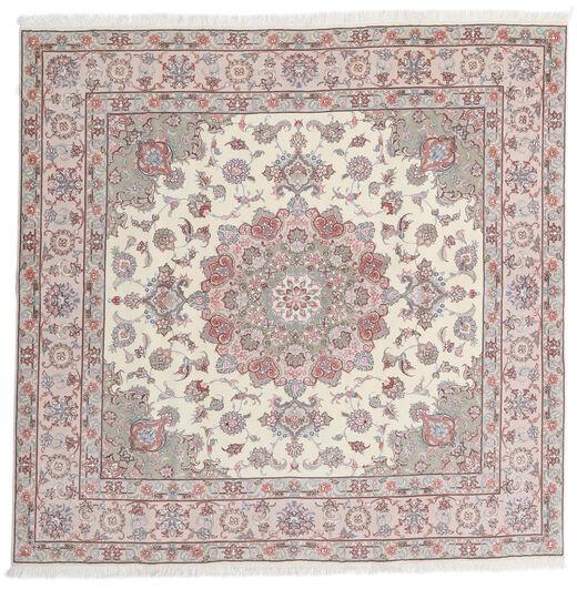 Tabriz 60 Raj Zijden Pool Vloerkleed 198X201 Echt Oosters Handgeknoopt Vierkant Lichtgrijs/Beige (Wol/Zijde, Perzië/Iran)