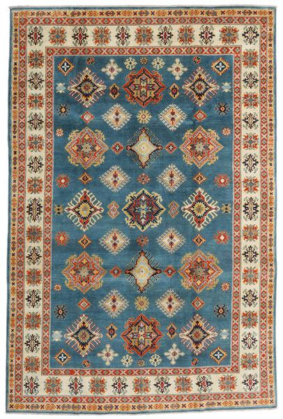 Kazak Vloerkleed 198X301 Echt Oosters Handgeknoopt Donkerblauw/Donkerbeige (Wol, Afghanistan)