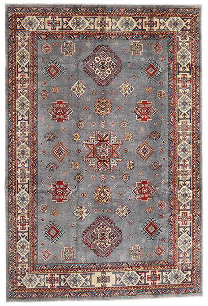 Kazak Vloerkleed 194X290 Echt Oosters Handgeknoopt Donkerbruin/Lichtgrijs (Wol, Afghanistan)