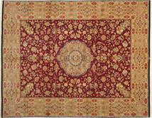 Tabriz 50 Raj Met Zijde Vloerkleed 304X411 Echt Oosters Handgeknoopt Lichtbruin/Donkerrood Groot (Wol/Zijde, Perzië/Iran)