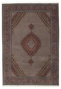 Tabriz 50 Raj Met Zijde Vloerkleed 206X296 Echt Oosters Handgeknoopt Donkerbruin/Lichtbruin (Wol/Zijde, Perzië/Iran)