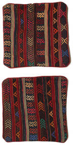 Kelim Kussensloop Vloerkleed 50X50 Echt Oosters Handgeweven Vierkant (Wol, Turkije)