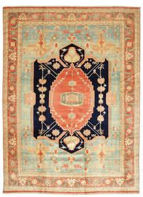 Heriz Vloerkleed 405X540 Echt Oosters Handgeknoopt Donkerbeige/Lichtgroen Groot (Wol, Perzië/Iran)