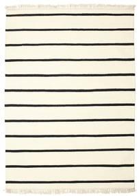 Dorri Stripe - Wit/Zwart Vloerkleed 160X230 Echt Modern Handgeweven Beige/Wit/Creme (Wol, India)