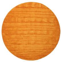 Handloom - Oranje Vloerkleed Ø 300 Modern Rond Geel/Oranje/Lichtbruin Groot (Wol, India)
