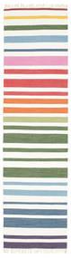 Rainbow Stripe - Wit Vloerkleed 80X300 Echt Modern Handgeweven Tapijtloper Wit/Creme (Katoen, India)