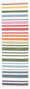 Rainbow Stripe - Wit Vloerkleed 80X250 Echt Modern Handgeweven Tapijtloper Beige/Wit/Creme (Katoen, India)