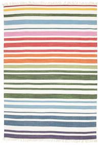 Rainbow Stripe - Wit Vloerkleed 160X230 Echt Modern Handgeweven Wit/Creme (Katoen, India)