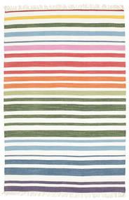 Rainbow Stripe - Wit Vloerkleed 140X200 Echt Modern Handgeweven Wit/Creme/Beige (Katoen, India)