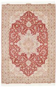 Tabriz 50 Raj Met Zijde Vloerkleed 205X300 Echt Oosters Handgeknoopt Lichtbruin/Donkerbruin (Wol/Zijde, Perzië/Iran)