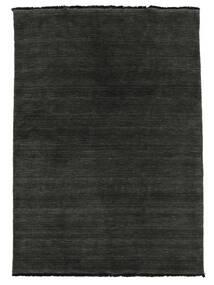 Handloom Fringes - Zwart/Grijs Vloerkleed 160X230 Modern Zwart/Donkergrijs (Wol, India)