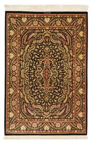 Ghom Zijde Getekend: Ghom Mohammadi Vloerkleed 101X150 Echt Oosters Handgeknoopt Donkerbruin/Bruin (Zijde, Perzië/Iran)