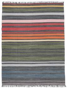 Rainbow Stripe - Grijs Vloerkleed 250X300 Echt Modern Handgeweven Donkergrijs/Olijfgroen Groot (Katoen, India)