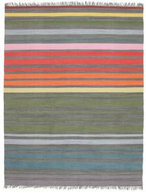 Rainbow Stripe - Grijs Vloerkleed 200X250 Echt Modern Handgeweven Lichtgrijs/Olijfgroen (Katoen, India)