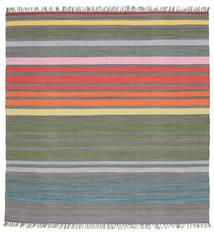 Rainbow Stripe - Grijs Vloerkleed 200X200 Echt Modern Handgeweven Vierkant Donkergrijs/Lichtgrijs (Katoen, India)