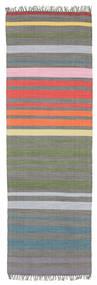 Rainbow Stripe - Grijs Vloerkleed 80X250 Echt Modern Handgeweven Tapijtloper Donkergrijs/Lichtgrijs (Katoen, India)